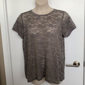 TORRID | 2X | Grey Lace Crew Top